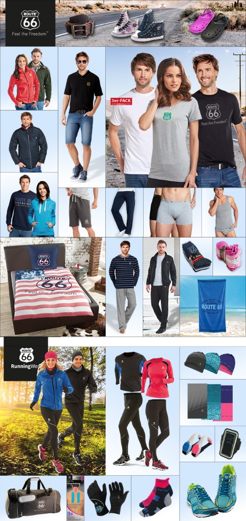 """- Examples of the premium brand sports range """"ROUTE 66"""" – a SILAG Handel AG product range"""