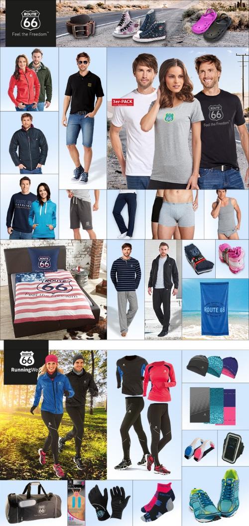 """Beispiele des Premium-Markensport-Sortiments """"ROUTE 66"""" – eine Produktserie der SILAG Handel AG"""